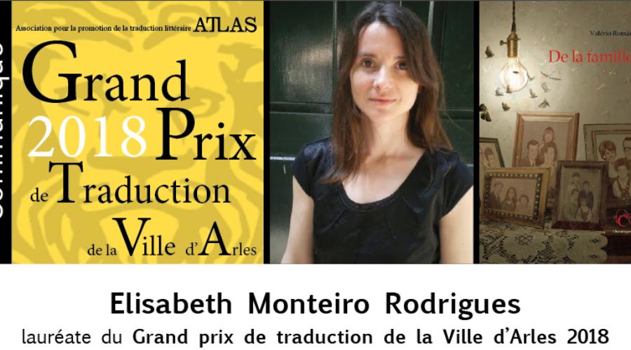Elisabeth Monteiro Rodrigues, lauréate du Grand prix de traduction de la Ville d'Arles 2018